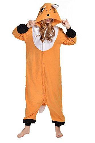 CANASOUR Pyjamas Kostüm Jumpsuit Tier Schlafanzug Erwachsene Unisex Fasching Cosplay Karneval (S, Brown Fox)