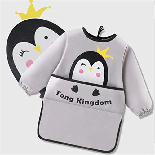 DDSCB Kinderschürzekinder Baumwolle Netter Weißer Pinguin-Druck Verstellbarer Antifouling-Wasserdichter Kinderschürzen-Kostüm-Kittel-Bastelbluse Basteln-Backen