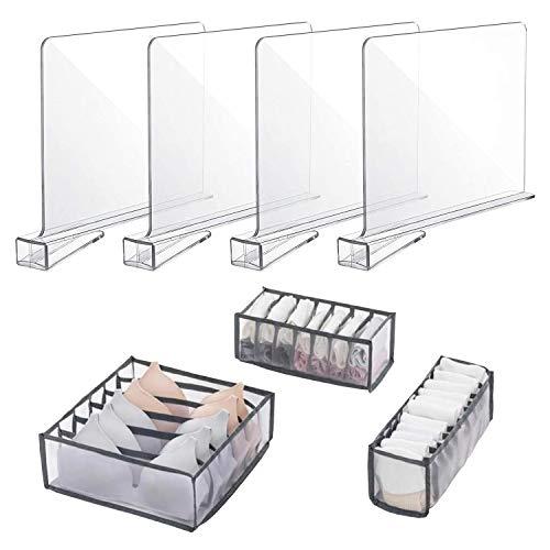MarhJean Shelf Dividers Underwear Drawer Organizer with 6/7/11 Lattice Set of 7 Clothes Drawer Organizers Storage partition
