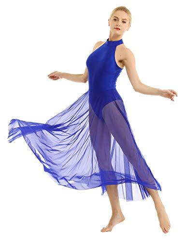 inhzoy Vestido Elegante de Baile Lírico para Mujer Body Maillot de Ballet Danza Falda Larga Leotardo de Gimnasia Patinaje Artístico Traje de Bailarina Azul Small