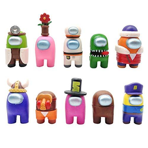 Juego de Figuras de Juguete, 10Piezas Entre Nosotros Figura De Juguete,Mini Among Us Muñeca De Juguete,Colección Muñecas Dibujos Animados,Regalos Fiesta Para Fanáticos Los Juegos Colección de Juguetes
