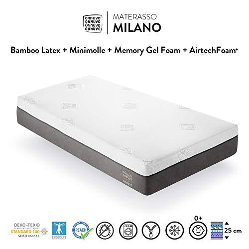 OnNuvo Materasso New Gel Memory Foam Alta Densità 60-65 kg/m3, Lattice Bamboo Naturale 70-75 kg/m3, Micro Molle INDIPENDENTI, 7 Zone, h 25 cm, Antidecubito Ortopedico Sfoderabile (80x190x25) Milano