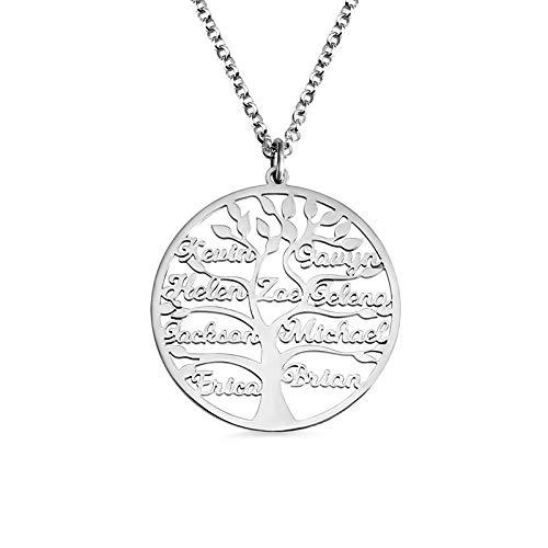 Collar personalizado de las mujeres de árbol de la familia 1-9 nombre collar de acero inoxidable plata colgante joyería padre madre regalos