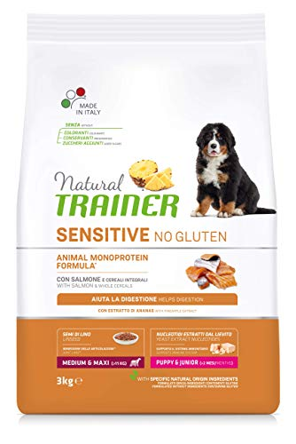Natural Trainer Sensitive No Glutine - Cibo per Cani Medium-Maxi Junior-Puppy con Salmone e Cereali Integrali - 3kg