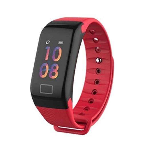 LYB para Samsung Galaxy J4 J6 J8 J3 J5 J7 2017 A3 A5 A7 A6 A8 + A9 2018 Smart Watch Pulsera Impermeable Tarifa Cardíaca Fitness Pulseras (Color : Red)