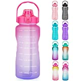 Opard 64 oz Water Bottle with Time Marker Half Gallon Motivational Water Bottle with Straw and Handle Large BPA Free Water Jug for Sports Gym Fitness (Red & Purple)