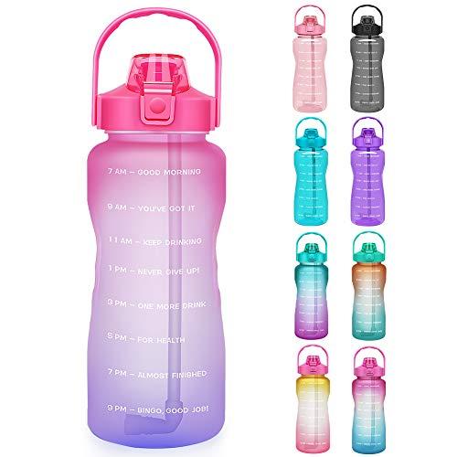 Opard Trinkflasche, BPA Frei Wasserflasche mit Strohhalm, 1-klick Verschluss Auslaufsichere Water Bottle, Zeitmarkierung Sportflasche (Rot Lila)