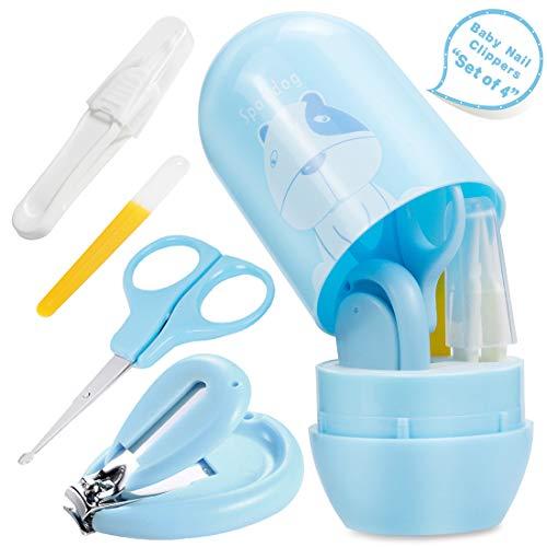 O-Kinee Baby Maniküre Set 4 Stück Baby Nagelpflege Set,mit Nagelknipser Nagelschere Nasenpinzette Nagelfeile,Safe Portable Geschenk-Verpackung Baby Nail Care Kit für Neugeborene (Blau)