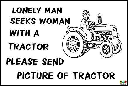 Grappig Teken Eenzame Man zoekt Vrouw met Tractor Present Farm, Bouwer Stickers Zelfklevende Waarschuwingsbord Stickers Veiligheid Lable Property Car Window Decal 30X20CM