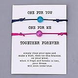 LLXXYY Pulsera De Piedra,Cordón De Piedra Natural Pulsera 2Pcs/Set Par Trenzado Azul Rosa Bangle Hombres Mujeres Desean Oración Regalo Pareja De Joyas