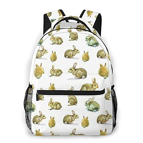 SXCVD Mochila informal,Lindo Conejo Peludo Conejito Patrón Animales Pascua Mascotas,Mochila para portátil de negocios,Mochila de viaje de senderismo para hombres,mujeres,adolescentes