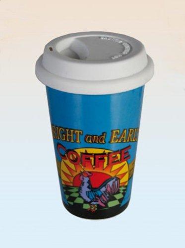 Kaffeebecher To Go mit Deckel, Vintage American Diner Motiv, Retro Kaffeetasse spülmaschinenfest, Deckel mit Hand spülen, Maße:13,5 x 9 cm, Material: Porzellan mit Silikondeckel, Farbe: blau