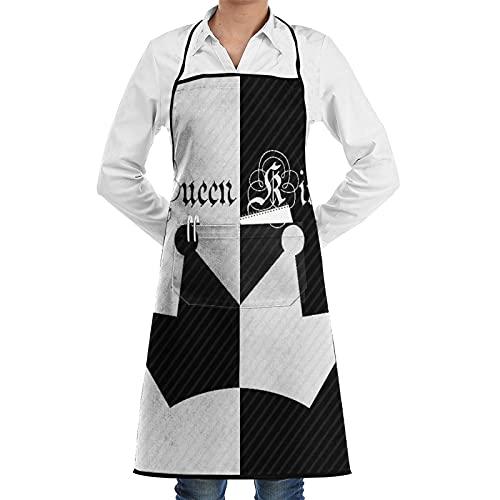 LOSNINA Delantal de cocina Impermeable y antiincrustante para hombres delantal de chef para mujeres restaurante de jardinería barbacoa cocinar hornear,Su corona de reina y rey