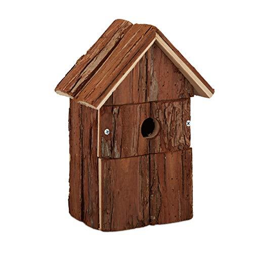 Relaxdays Vogelhaus, aus Holz, Vogelhäuschen zum Aufhängen, Deko-Vogelvilla Garten, HBT: 25,5 x 18 x 12,5 cm, Natur