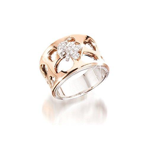 Anello LeBebè I DIVINI a fascia in oro bianco e rosa con bimba in pavè di diamanti LBB354
