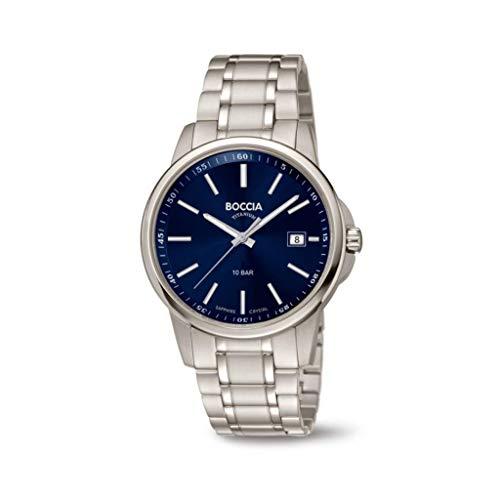 Boccia Herren Analog Quarz Uhr mit Edelstahl Armband 3633-04
