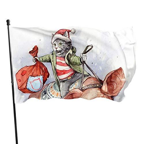 Banderas para jardín Gracioso gato de santa monta cerdo Navidad Bandera Grande de balcón para Exterior Reforzada y con 2 Ojales metálicos 90x150cm