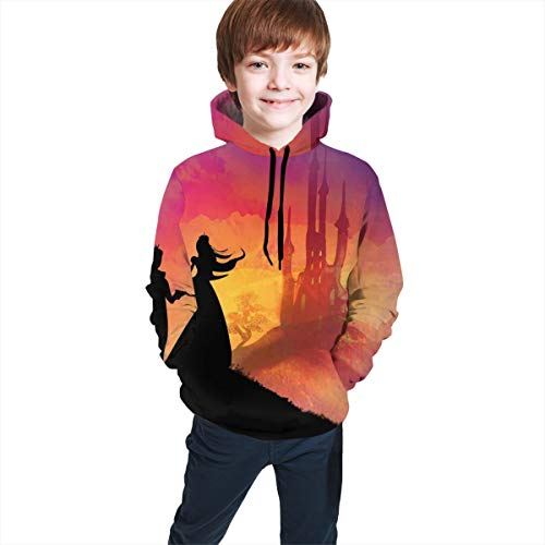 Teen Hooded Sweatshirts,Silhouette of Prince And Princess Magical Castle House Fairytale Dream Girls Image L