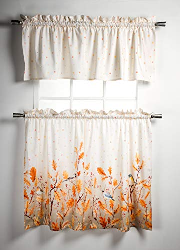 """Maison d' Hermine Oak Leaves 100% Cotton Set of 3 Kitchen Window Curtain for Cafe   Kitchen   Bedroom   Home [2 Tiers (28""""X36"""") and 1 Valance (56""""X18"""")]"""