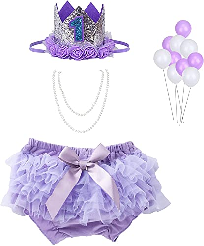 WELROG Baby Girls First Birthday Cake Smash Outfit, Tutu Bloomers Diaper...