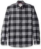 Amazon Brand - Goodthreads Men's Standard-Fit Long-Sleeve Brushed Flannel Shirt, -grey/black buffalo, Large