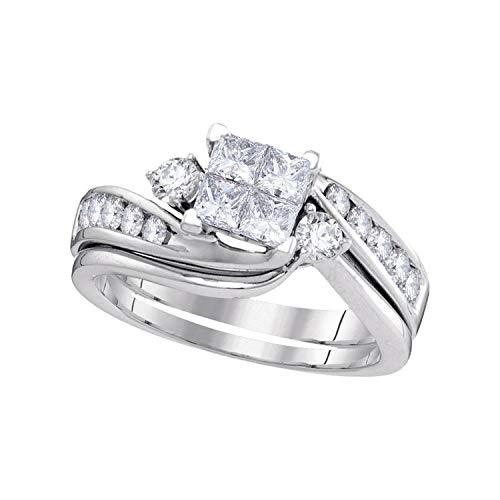 DazzlingRock Collection 14 quilates oro blanco Princess & Round IJ diamante blanco
