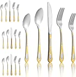 20-Piece Stainless Steel Silverware Flatware Cutlery Set - Service for 4,Include Dinner Knife/Dinner Fork/Dinner Spoon/Salad forks/coffee Spoon,Dishwasher Safe (Gold with handle)