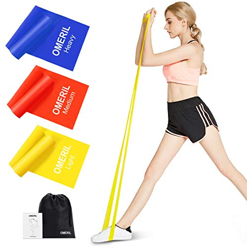 OMERIL Resistance Bands Set, 3 Pack Latex Exercise Bands with 3 Resistance Levels, Skin-Friendly...