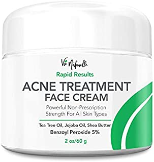 Acne Treatment Cream - 5% Benzoyl Peroxide Spot Treatment Acne Cream - Cystic Acne Spot Treatment for Face - Pimple Cream ...