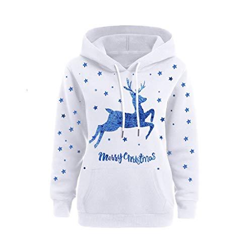 Komise Frauen gedruckt Weihnachten Pullover Langarm Kapuzenpullover Tops Bluse