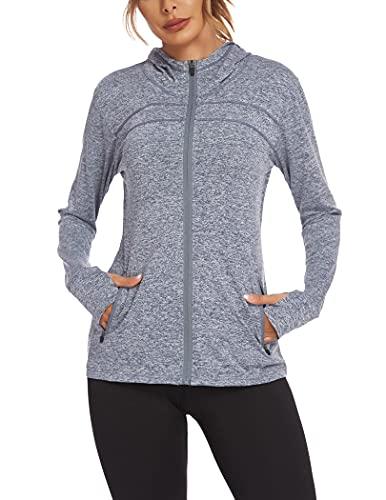 Onbay Damen Laufjacke Sportjacke Langarm Kapuzenjacke Sweatjacke für Yoga Fitness, Grau, L