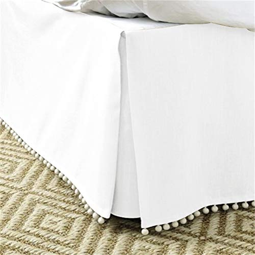 LA-BOOR 1 pc Gray Bed Sheet Non-Slip Cotton Bed Fitted Sheets Queen King Double Size Solid Color Bed Skirt,White,100x200cm