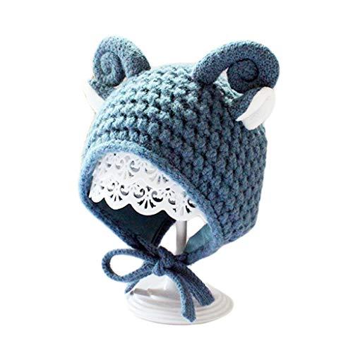 LYTYM Los niños de Punto de algodón Forrado con Orejeras del Casquillo del Sombrero del Invierno del Calentador de Dibujos Animados de Cabra Linda Cuerno de Muchachas de los bebés Gorra de Esquiar