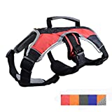 Peak Pooch Dog Support Harness Vest, No Pull with Reflective Trim and Padded Comfort - Red, Large