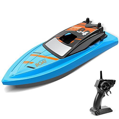GizmoVine Barca Telecomandata, Giocattoli per Bambini Barca a Motore a 4 Canali Barca RC per laghi e Piscina per Bambini all'aperto Set di Giocattoli