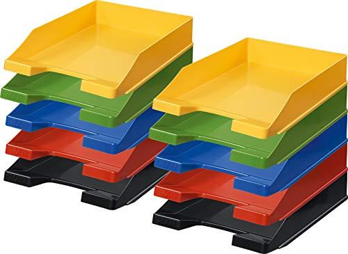 Han Briefablage A4 (1 Karton = 10 Stück) Je 2x schwarz, rot, blau, grün und gelb