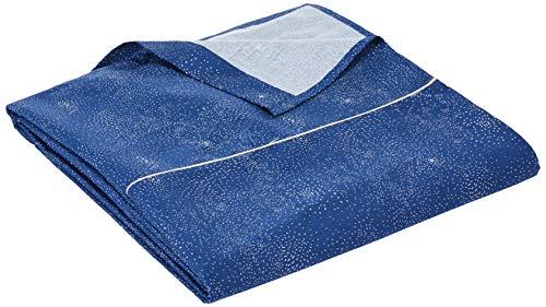Essix Belle Étoile Drap Plat, Satin de coton, Bleu nuit, 240x300 cm