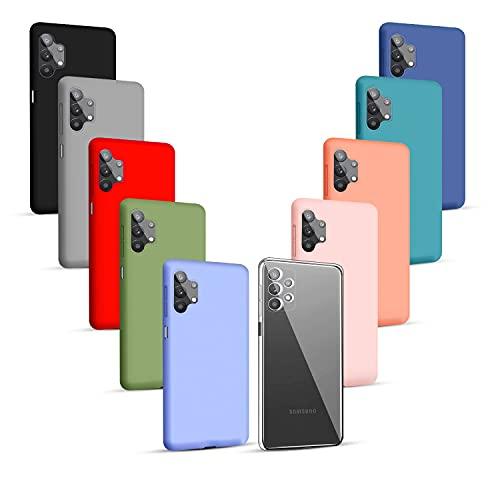 Iuveruln 10X Funda Compatible Samsung Galaxy A32 5G, Color Sólido Silicona TPU Suave, Carcasa Protección Flexible Trasera, Funda Ultrafina Resistente Arañazos, 10 Colores