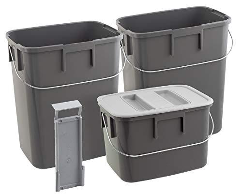 Nordiska Plast - 3 Abfallsammler mit Henkel und Deckel grau - 2x12 L, 1x7 L - 1x Deckel - Müllsortierer Mülltrenner Müllbehälter Küchenabfalleimer aus Öko-Kunststoff - BPA-frei - Made in Sweden