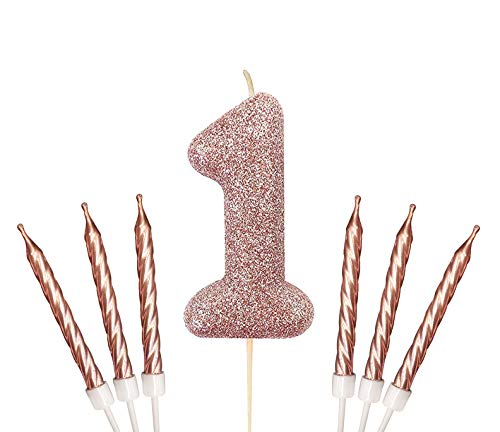 Gadget Giant Rose Gold Number 1 1st Birthday Cake Sparkling Glitter Candle & 6x Metallic Cake Candles Toppers