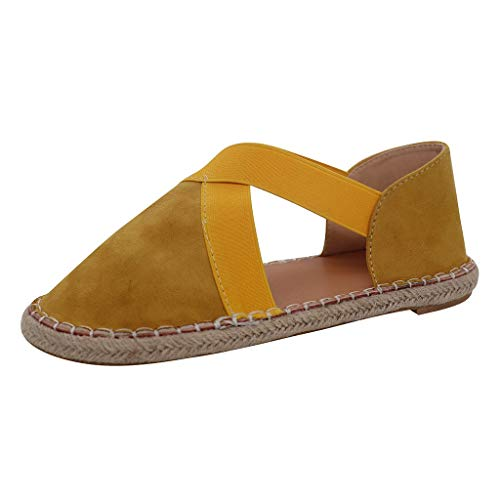 BOLUBILUY Summer Sandals for Women Closed Toe Cage Platform Flat Bottom Casual Cross Espadrilles Shoes Comfort Walking Yellow
