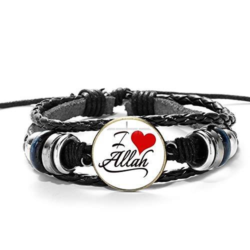 ZFHUAFENG Arabic Muhammad Islamic Leather Bracelet God Allah Charms Bracelets Men Religious Faith Muslim Jewelry Pulseira Masculina,As Shown F