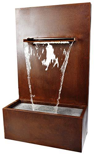 Köhko® Wasserfall-Brunnen mit LED-Beleuchtung Höhe 100 cm Wasserspiel aus Cortenstahl 31008