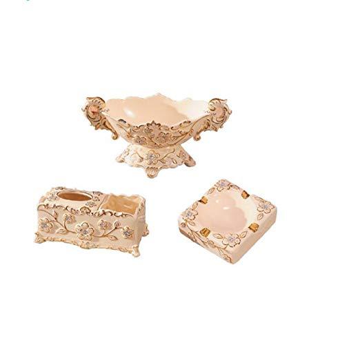 ZHANGHJXJH Luxus Europäischen Keramik obstschale Tissue Box aschenbecher dreiteilige Anzug Wohnzimmer couchtisch fruchttopf Dekoration