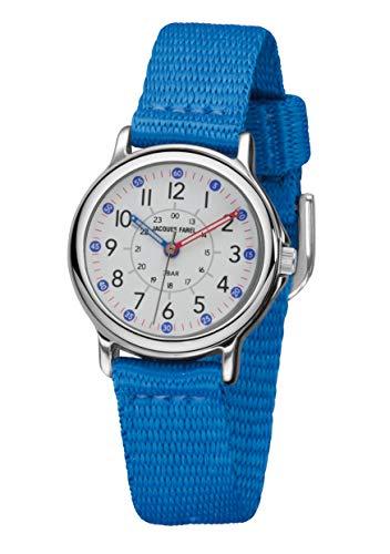JACQUES FAREL Reloj de pulsera analógico para niños con correa de tela muy suave azul de metal y cuarzo KCF 034
