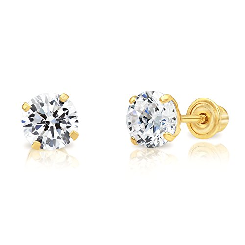 Art and Molly Women's 14ct Yellow Gold Cubic Zirconia Solitaire Stud Earrings With Screw Backs (5MM)