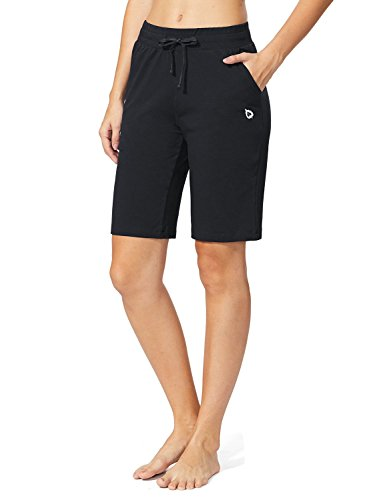 BALEAF Women's Active Yoga Bermuda Shorts Lounge Gym Workout Long Shorts with Pockets Black Size L