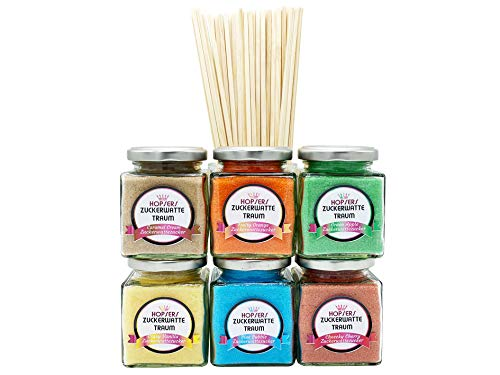 Zuckerwatte Zucker 6 x 175 Gramm im Glas für Zuckerwattemaschine Inkl.50 Zuckerwattestäbe | Bunter Premium Aroma-Zucker