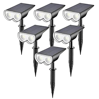 Linkind 16 LEDs Solar Landscape Spotlights, Dusk-to-Dawn IP67 Waterproof Solar Powered Spot Lights, 6500K Daylight White, Outdoor Wall Lights for Garden Yard Driveway Porch Walkway, 6 Pack