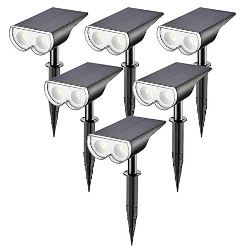 Linkind 16 LEDs Solar Landscape Spotlights, Dusk-to-Dawn IP67 Waterproof Solar Powered Spot Lights, 6500K Daylight White, Outdoor Wall Lights for Garden Yard Driveway Porch Walkway, 6 Pack